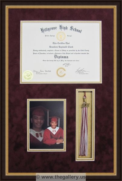Framed diploma with photo and tassel cross stitch framer shadow box ...