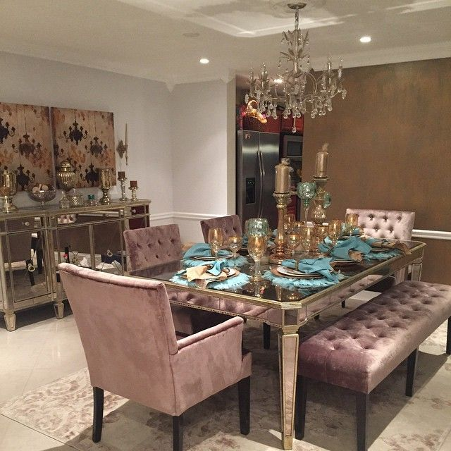 @maygilzene's dining room is complete! Features our Borghese Buffet, Lola Dining Chairs & Bench, Bellina Chandelier, Tealight Trio, & Whisper Placemats.