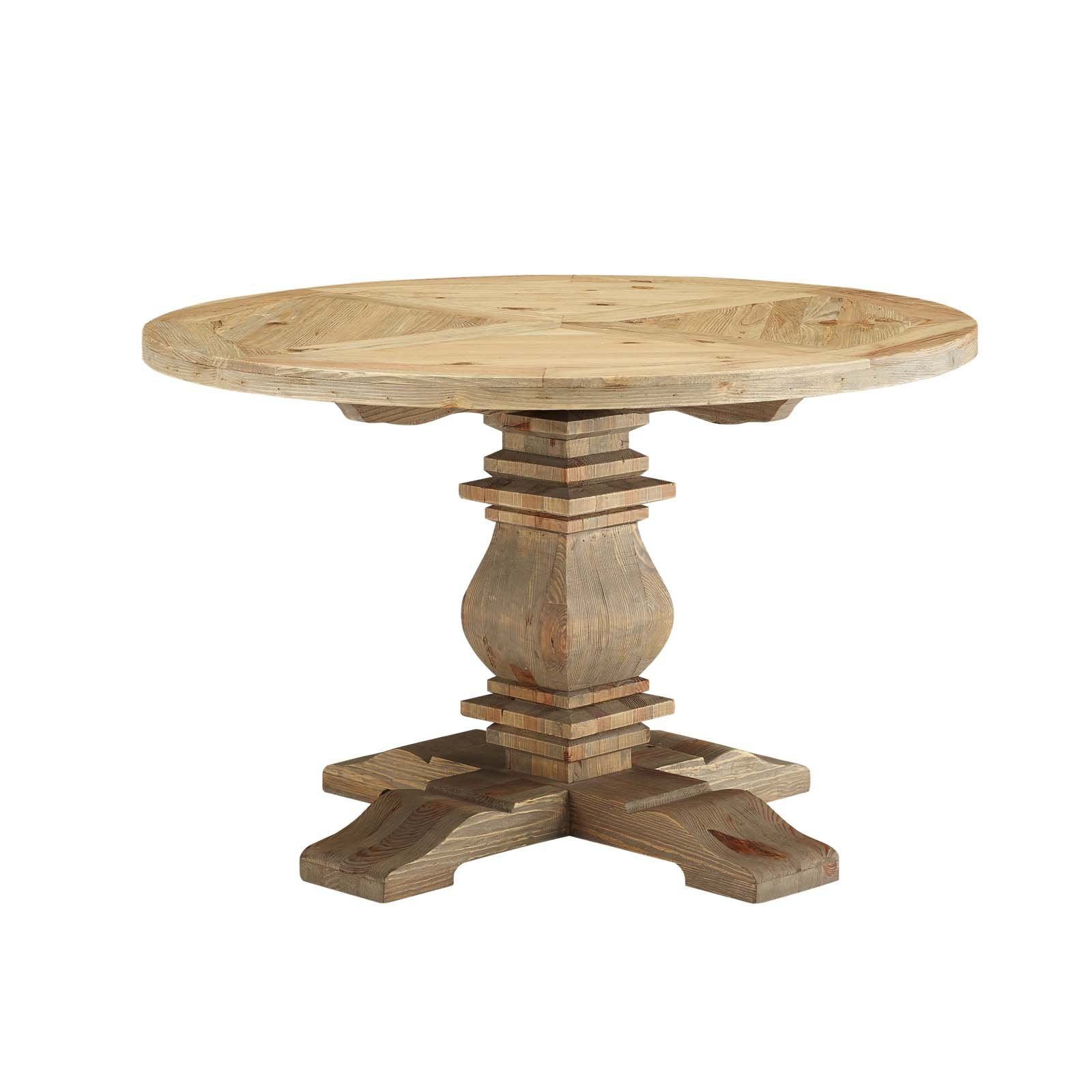 Modway Column Round Wood Dining Table Size 71 In Round Wood