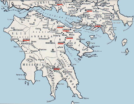 Ancient Map Of Peloponnese Corinth Maps Pinterest Map