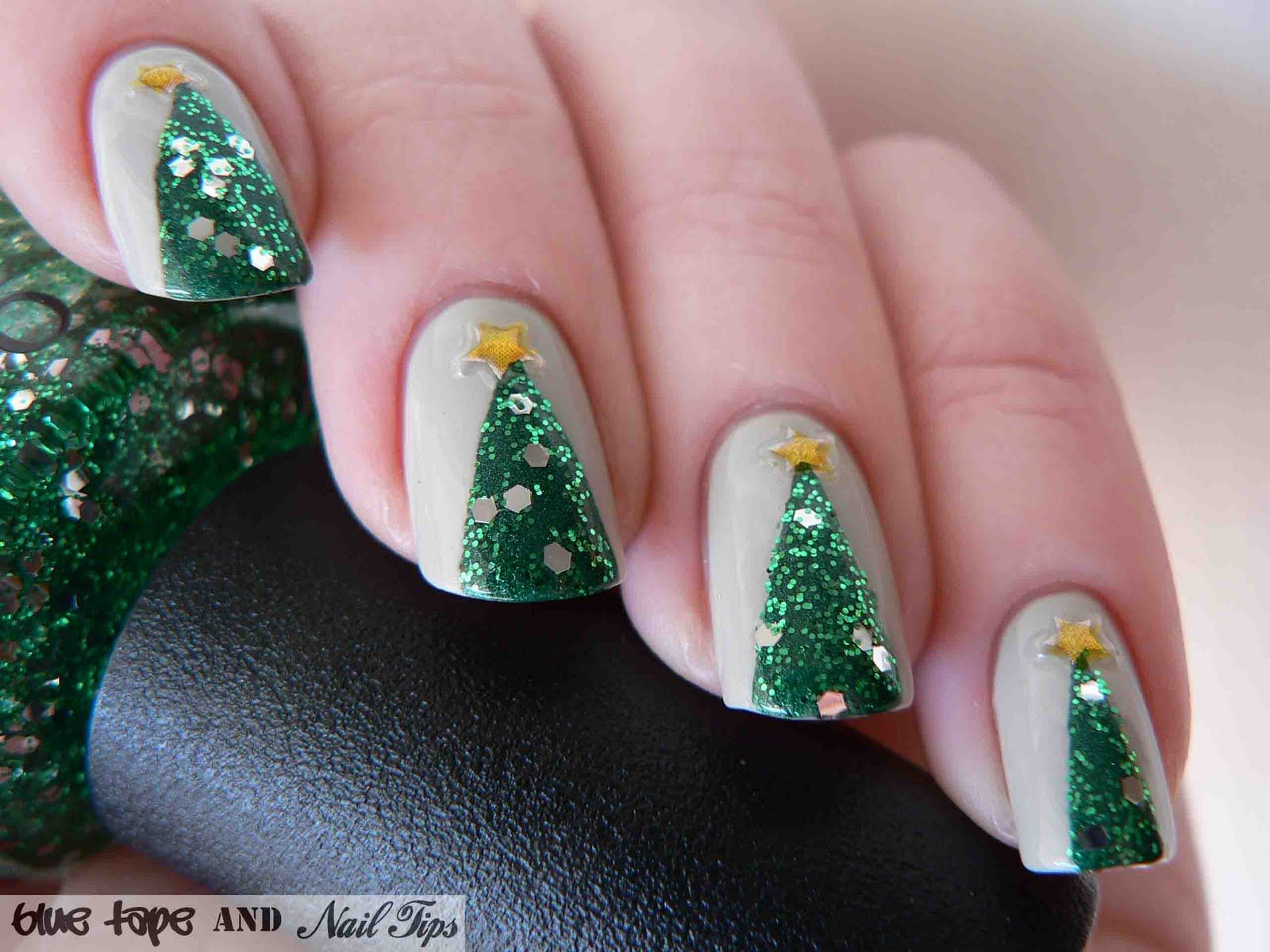 Blue Tape And Nail Tips Easy Christmas Trees Christmas Nails Easy Christmas Tree Nails Christmas Nails Diy