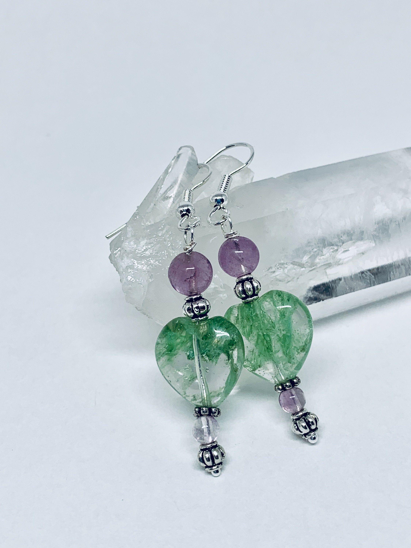 Long Rose Quartz and Silver Plate Capsule Drop Earrings