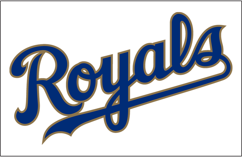 Kansas City Royals Jersey Logo 2017 Royals Scripted In Blue And Gold Worn On Front Of Kansas City Royals Jersey Kansas City Royals Kansas City Royals Logo