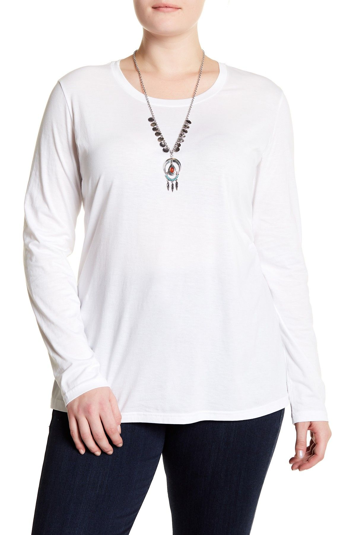 6edc72fcf42ba SUSINA - Long Sleeve Cotton Layering Tee (Plus Size). Free Shipping on  orders over  100.