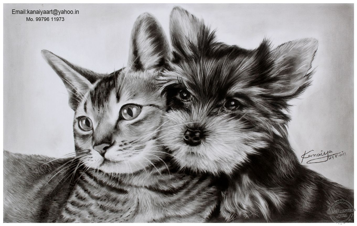 Charcoal Drawing Of Cat And Dog