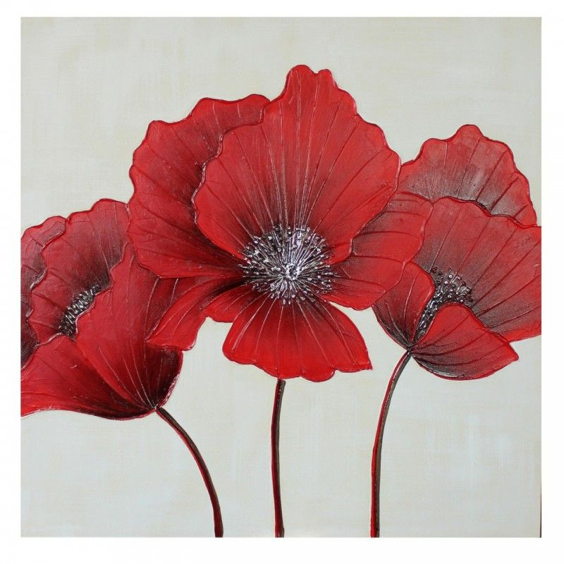 Wall Art Red red flower canvas wall art 80 x 80cm #poppy #dressyourwalls
