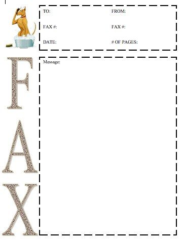 This printable fax cover sheet shows a large dog in a small - cute fax cover sheet