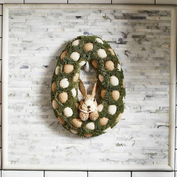 Easter Celebration - Bunny, Neutral Eggs & Moss Wreath