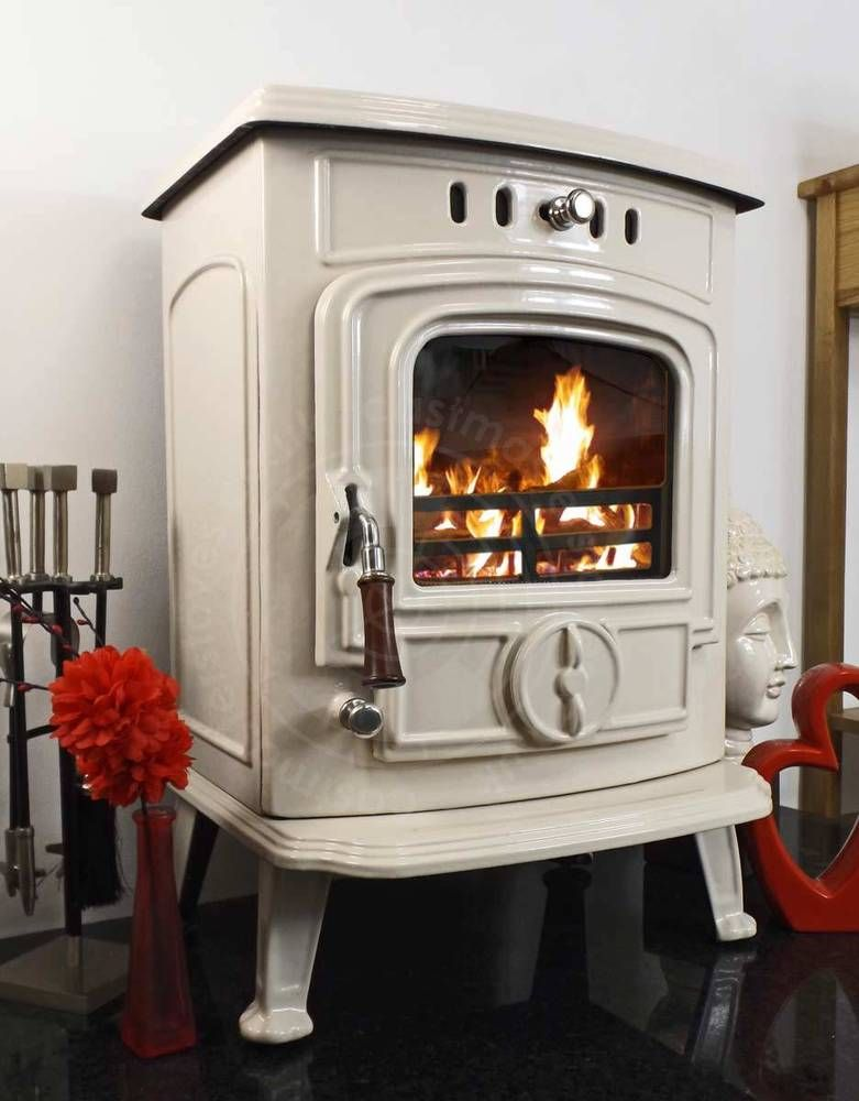 Castiron Cream Gloss Enamel Enameled Wood Burning Back Boiler Multifuel Stove In Home Furniture Diy Fireplaces Accessories Heating Stoves Ebay