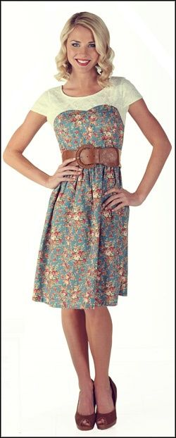 Blue Floral Print - Daisy Dress - Vintage Inspired - Modest Dresses