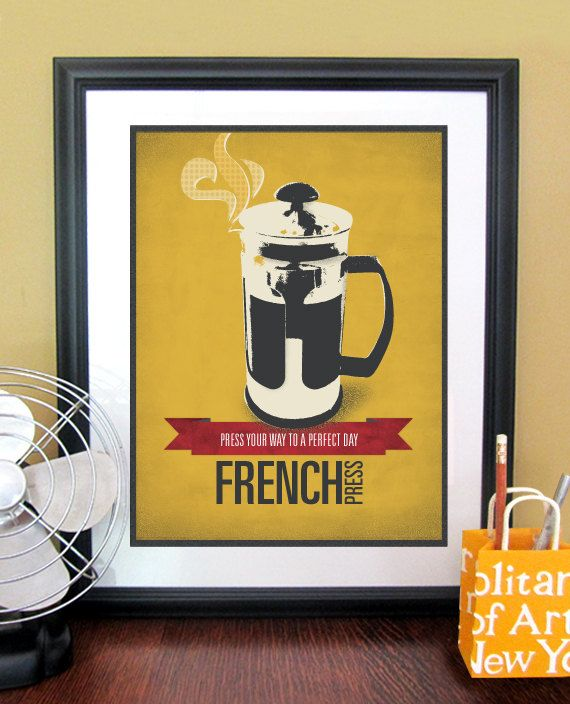 Kitchen Art Typography Poster Print With French Press, Kitchen Wall ...