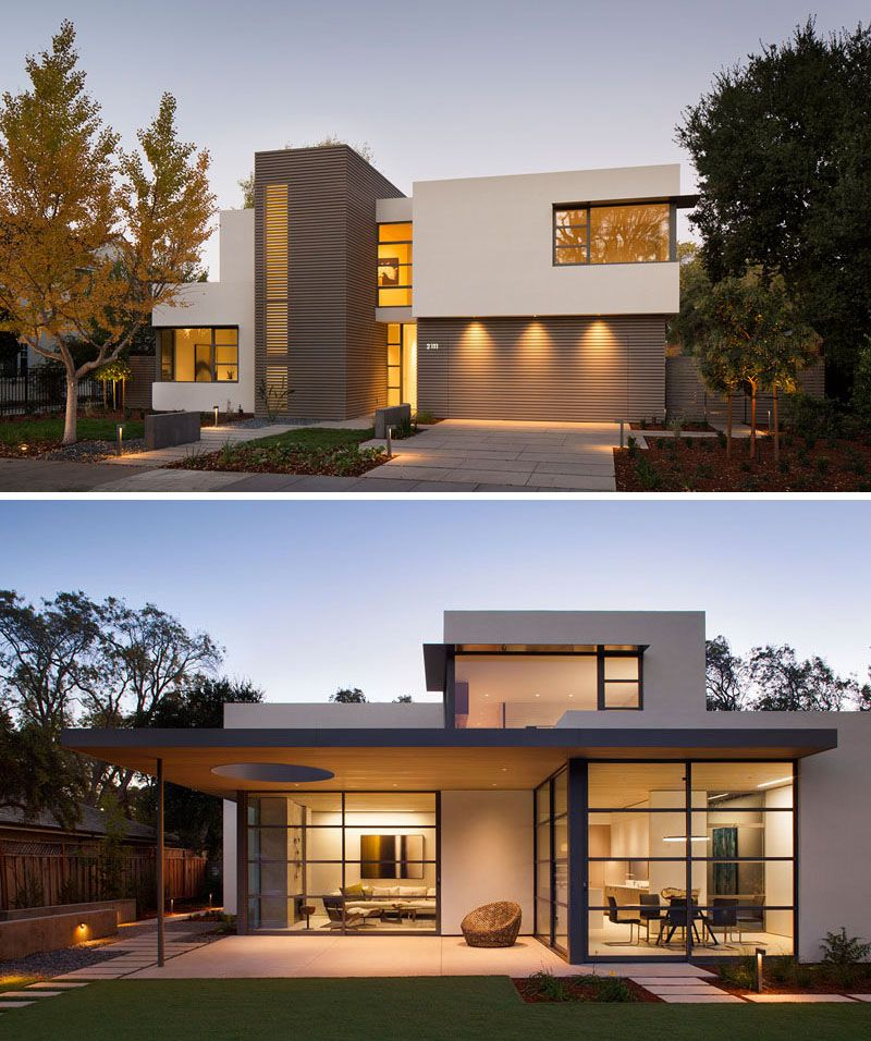 This lantern inspired house design lights up a california for Modern house front view design