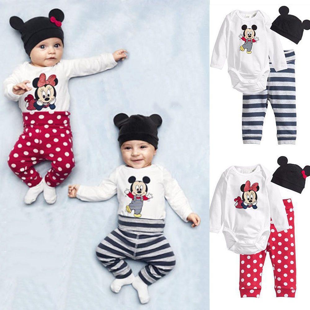 3Pcs Newborn Infant Boys Girls Outfits Hats+Mickey Pattern Printed Cotton Pants