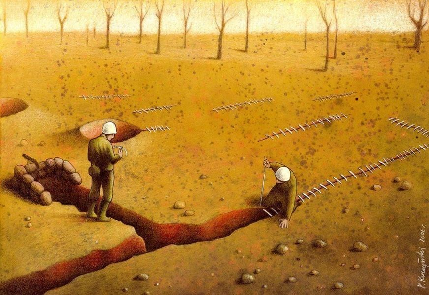 Le illustrazioni di Pawel Kuczynski ci immergono in un mondo contraddittorio, quello in cui viviamo. A una prima occhiata possono sembrarci divertenti, ma poi, riflettendo, mostrano i problemi e le contraddizioni del mondo moderno.