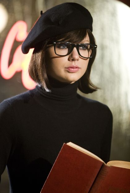 Taylor Swift With Dark Hair And Frames Beatnik Style Beatnik Beret Outfit