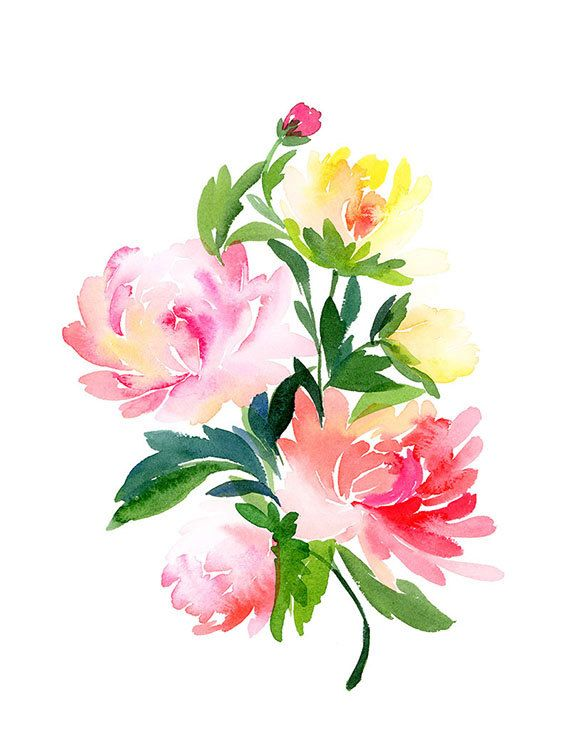Handmade Watercolor Archival Art Print- Chrysanthemums Bouquet