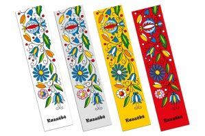 Komplet kaszubskich zakładek folk z kolorowymi wzorami