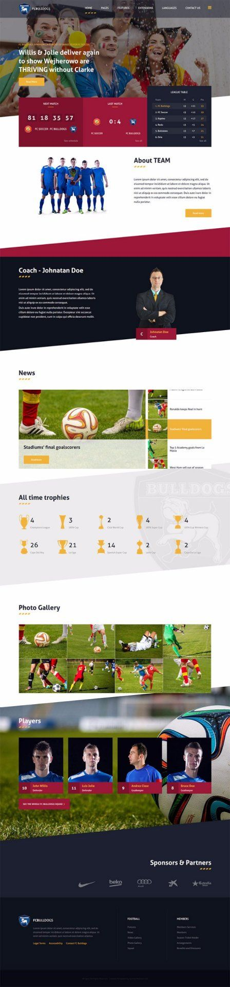 Jm Sport Website Template For Joomla Cms With League Management