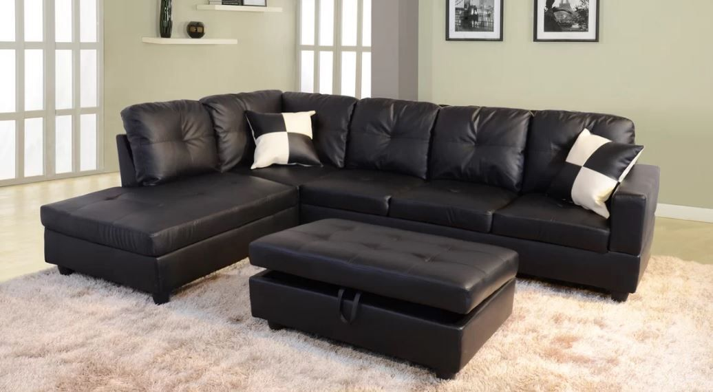Andover Mills Russ Sectional With Ottoman Vegan Leather
