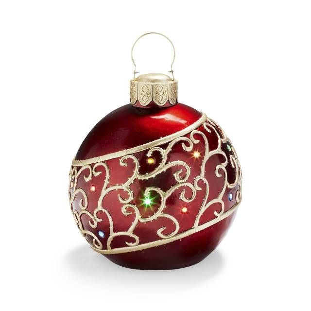 Our larger-than-life Fiber Optic LED Red and Gold Ornament ...