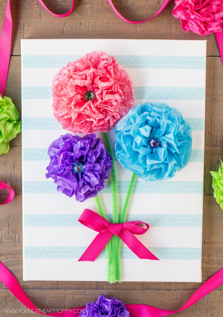Tissue Paper Flower Bouquet Canvas Tutorial Flower Crafts Paper