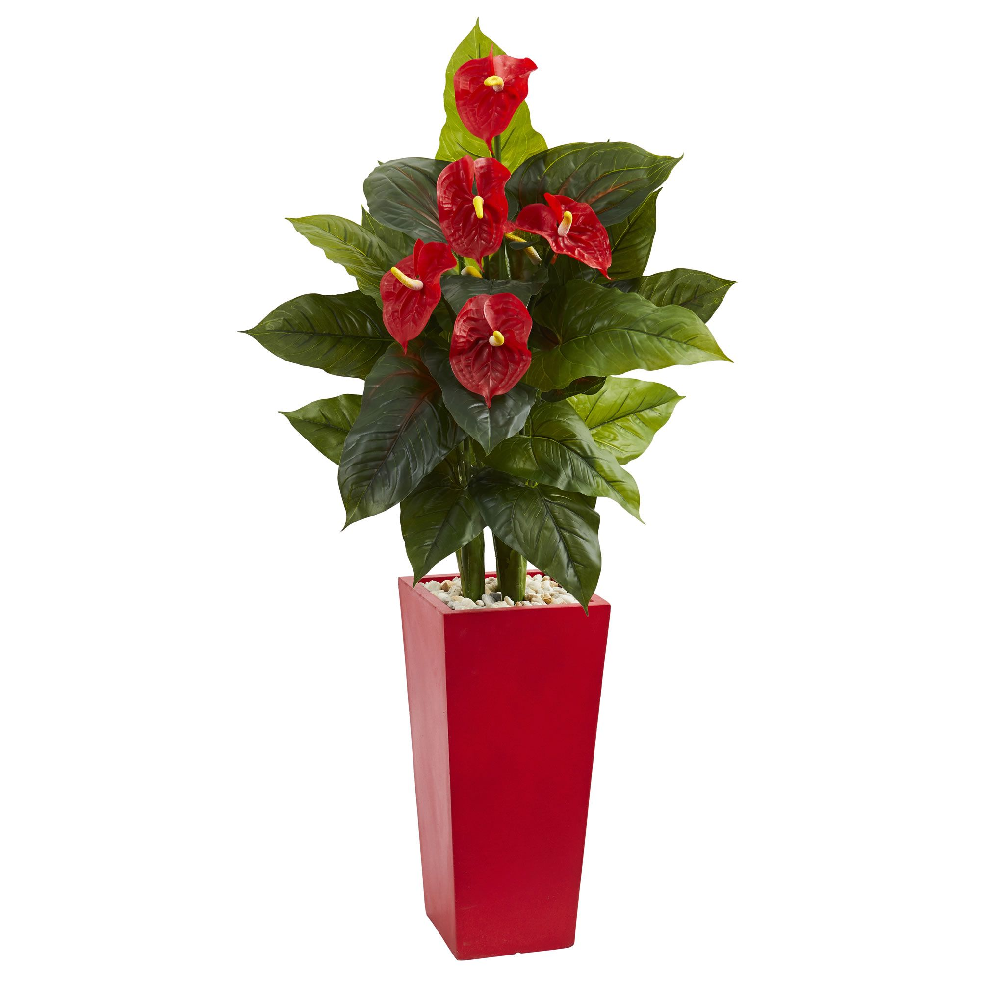 This Artificial Anthurium Plant Will Grab Your Attention With Its Bright Red Tropical Blooms Green Leaves And Natural Looking Stems Emerging From White River