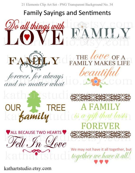 Instant Download Family Sayings And Sentiments Clipart For