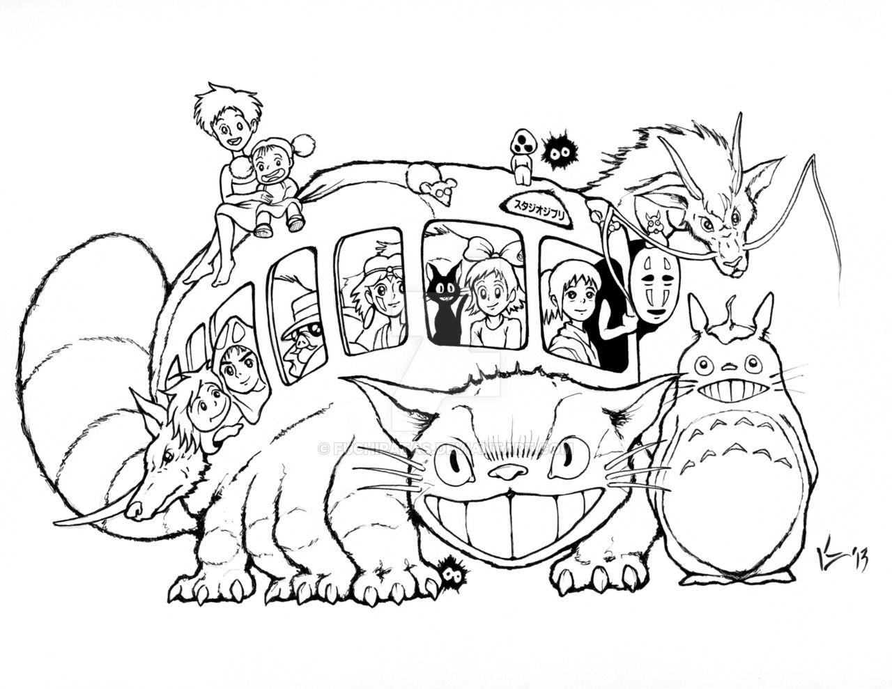 Manga studio ex 5 coloring pages ~ Studio Ghibli Catbus for AICN Contest - INKS by FUCHIPATAS ...