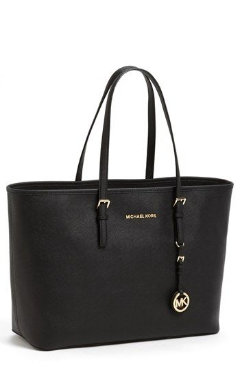 20445f90e25f $298, Michl Michl Kors Saffiano Leather Tote Black by MICHAEL Michael Kors.  Sold by