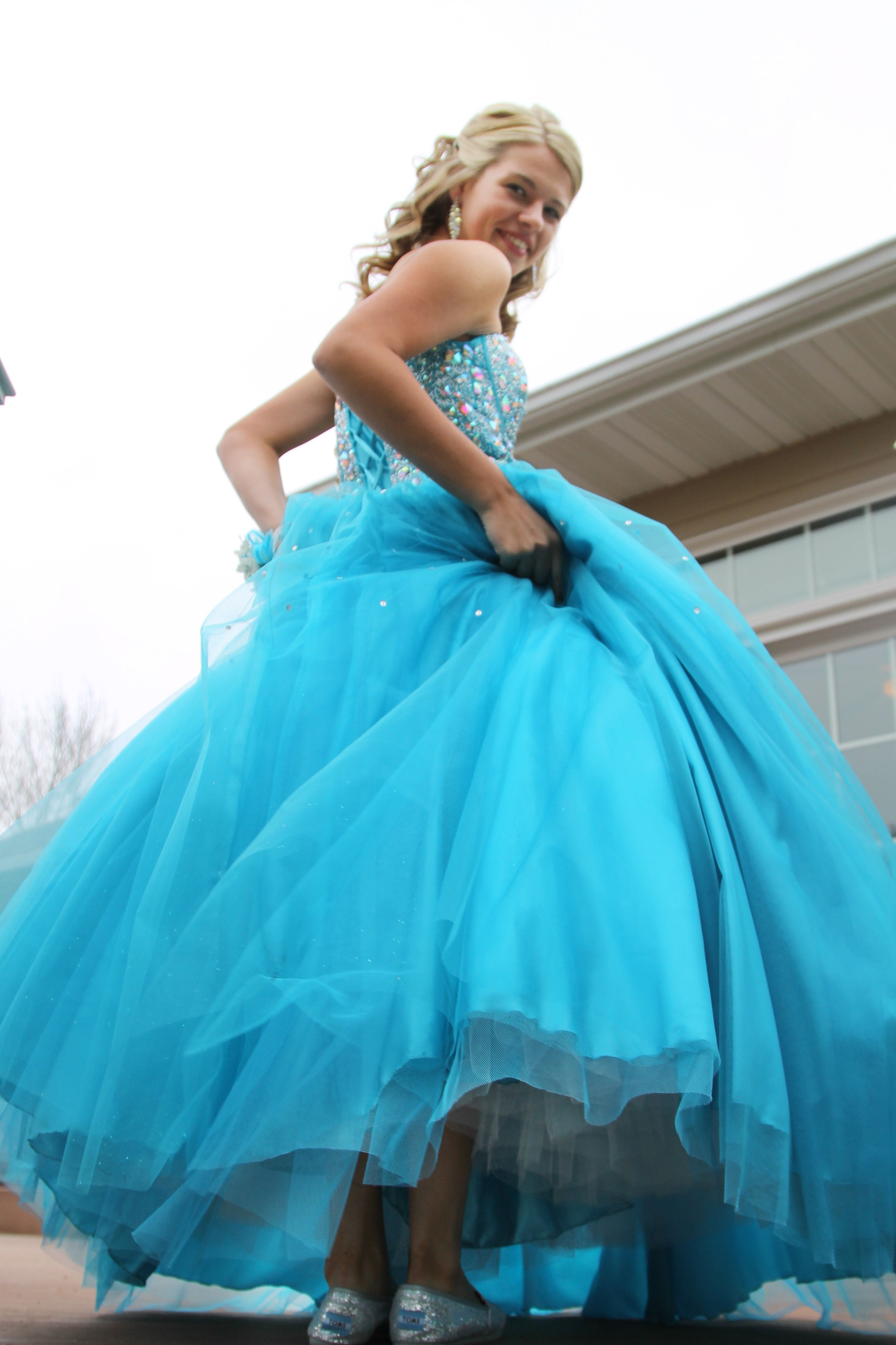 Gorgeous prom dress and glitter toms tomsforprom sissy caption