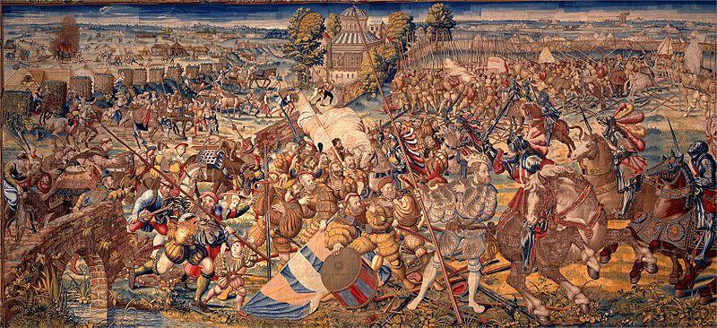 Battle of Pavia, France vs Spain & HRE  File:Manif. di bruxelles su dis.di bernart von orley, arazzi della battaglia di pavia, fuga dei francesi e diniego degli svizzeri, IGMN144485, 1526-31.JPG