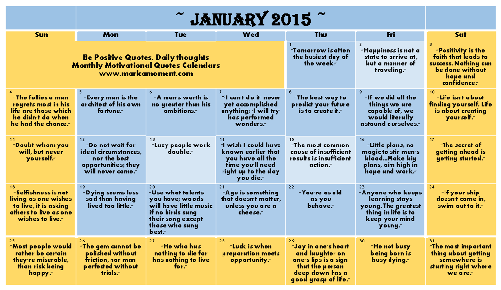 Short Monthly Calendar Quotes : Motivational thoughts calendar monthly daily