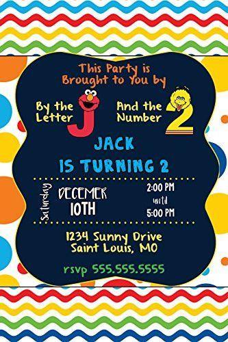 Custom Invitation Sesame Street Elmo Big Bird Primary Colors