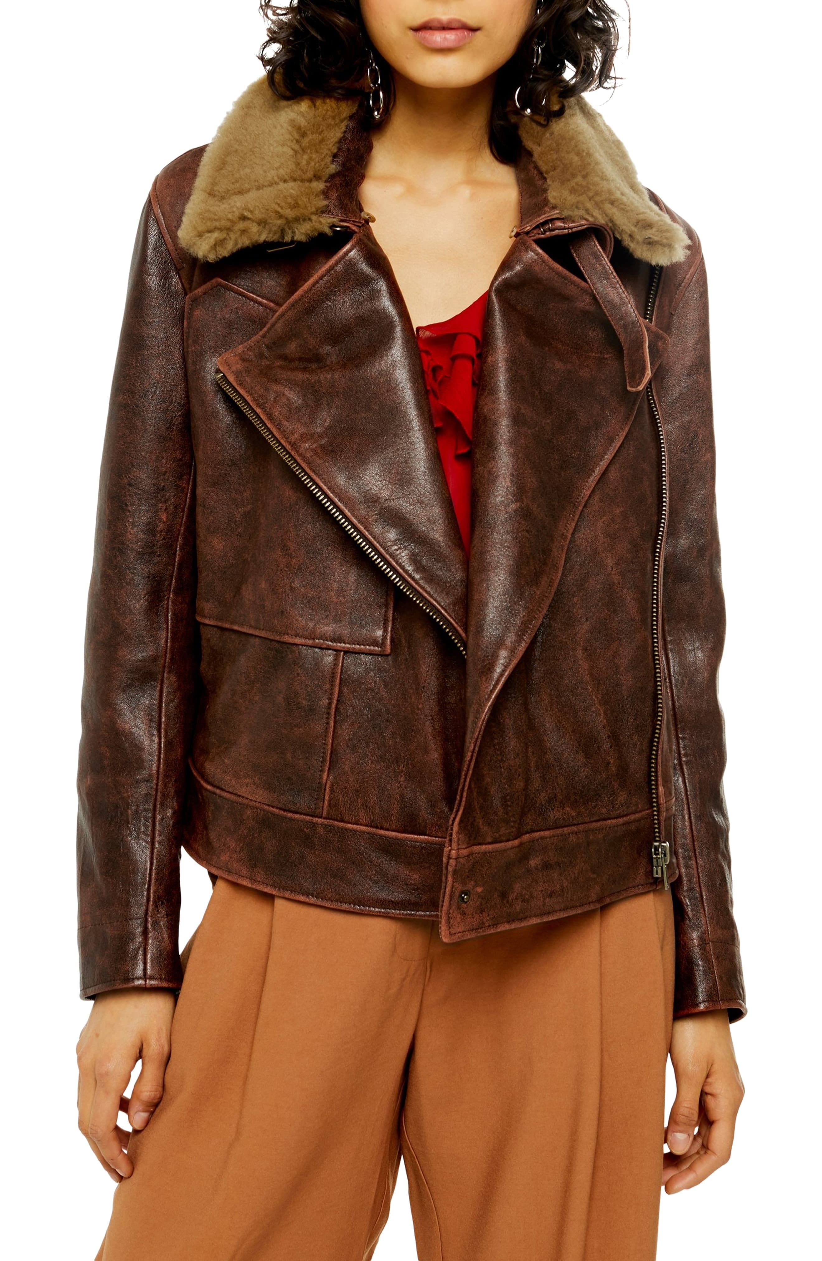 Women's Shearling Collar Leather Jacket, Size 4 US