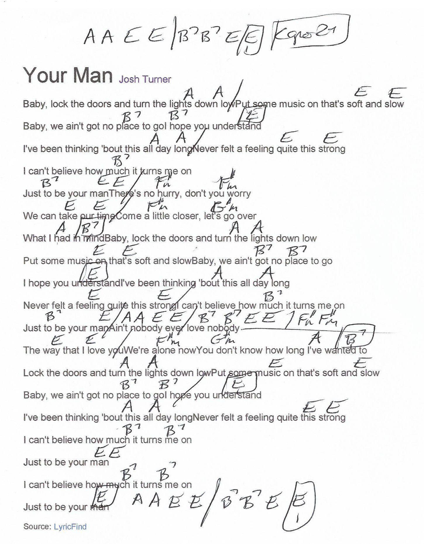 Your Man Josh Turner Guitar Chord Chart   Capo 15nd Fret   Josh ...