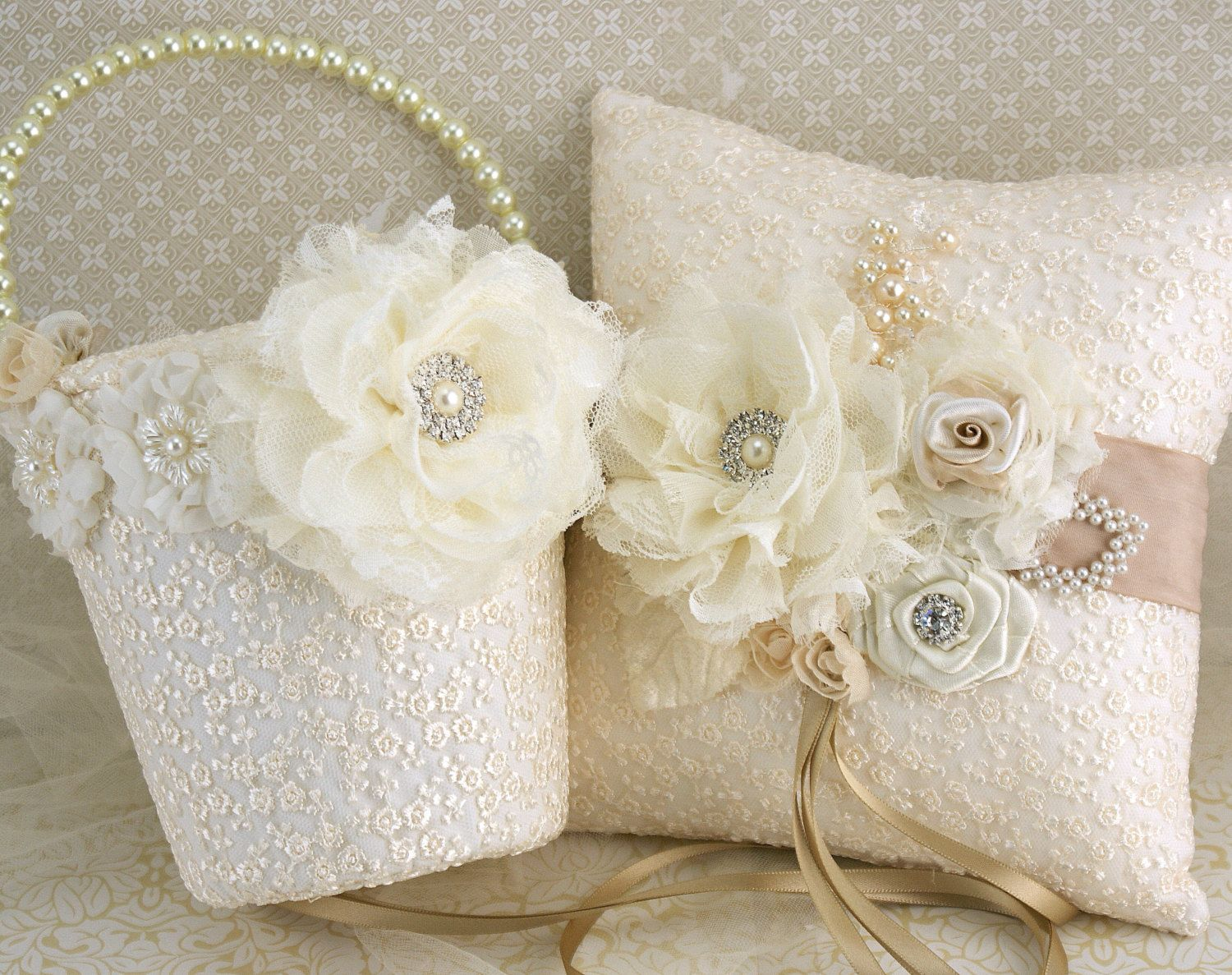 Flower girl basket wedding ring pillow ivory tan champagne lace diy ringbearer pillow and flowergirl baskets flower girl basket and ring bearer pillow set in izmirmasajfo Images
