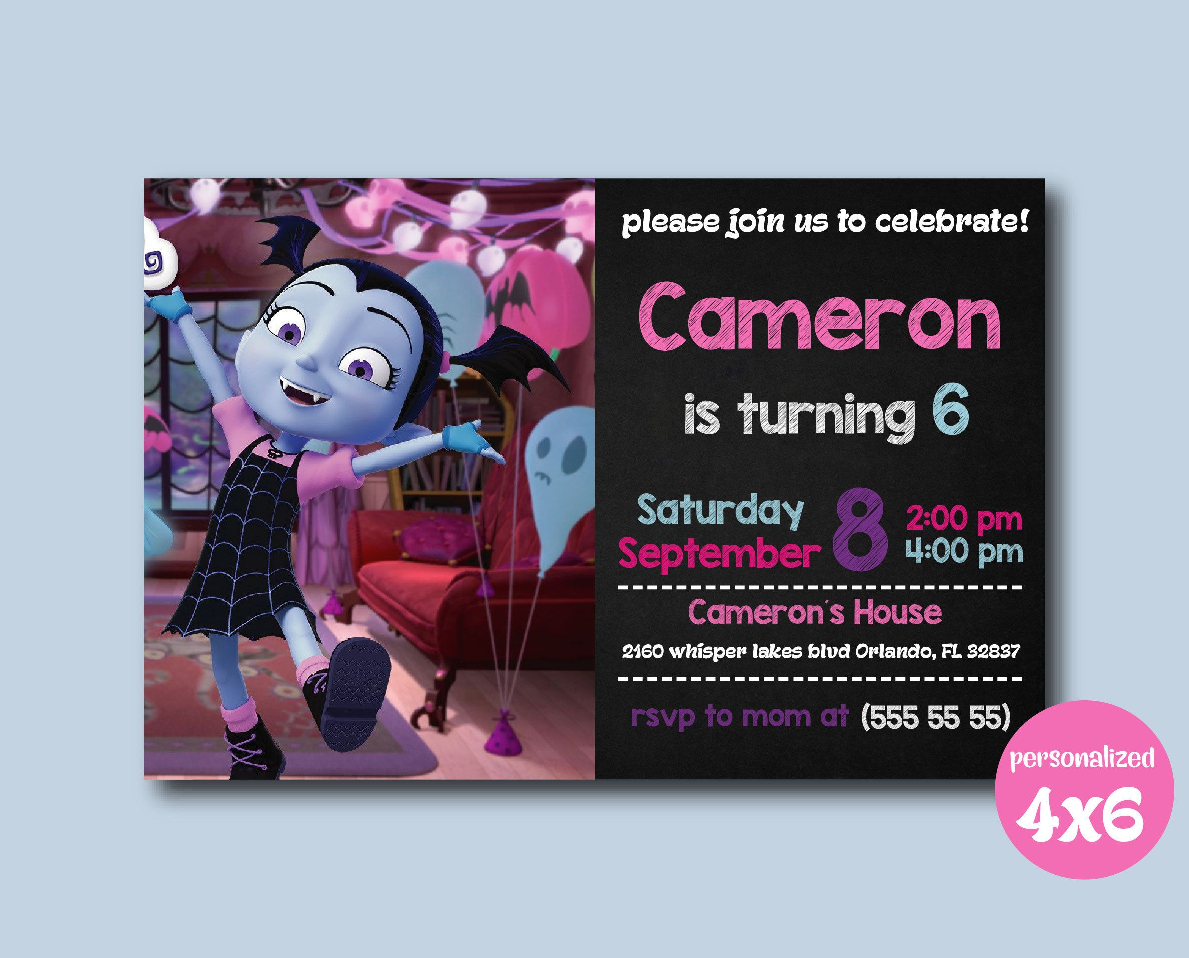 Vampirina Invitation, Vampirina Birthday Party, Vampirina Birthday  Invitation, Vampirina, Vampirina Cards,