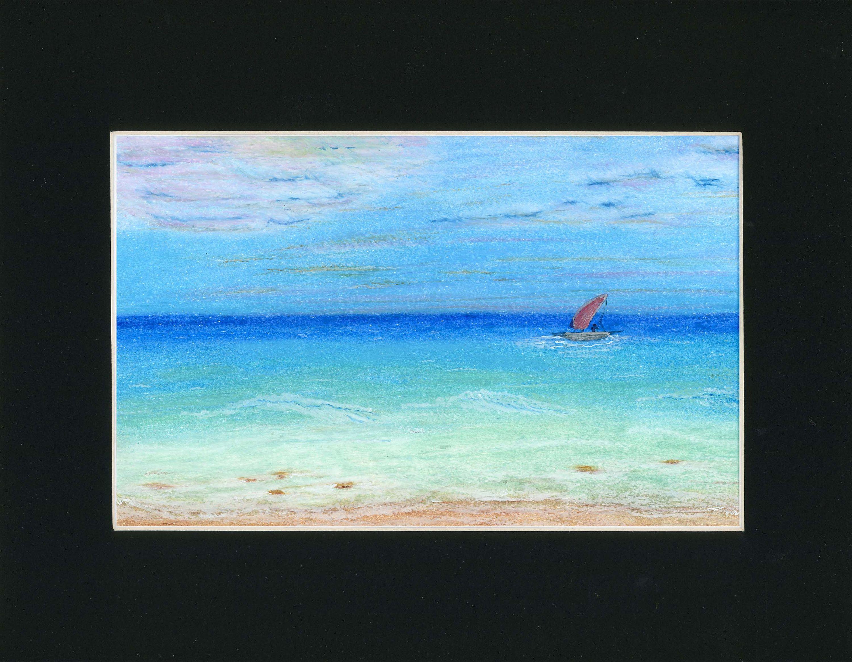 Turquoise Sailing Oil Pastel Painting One Of A Kind Art 11x14 Black Mat Original Ocean Blue Sky Sailboat Beach Waves Clouds Sailor Peaceful Oil Pastel Paintings Art Kinder Art