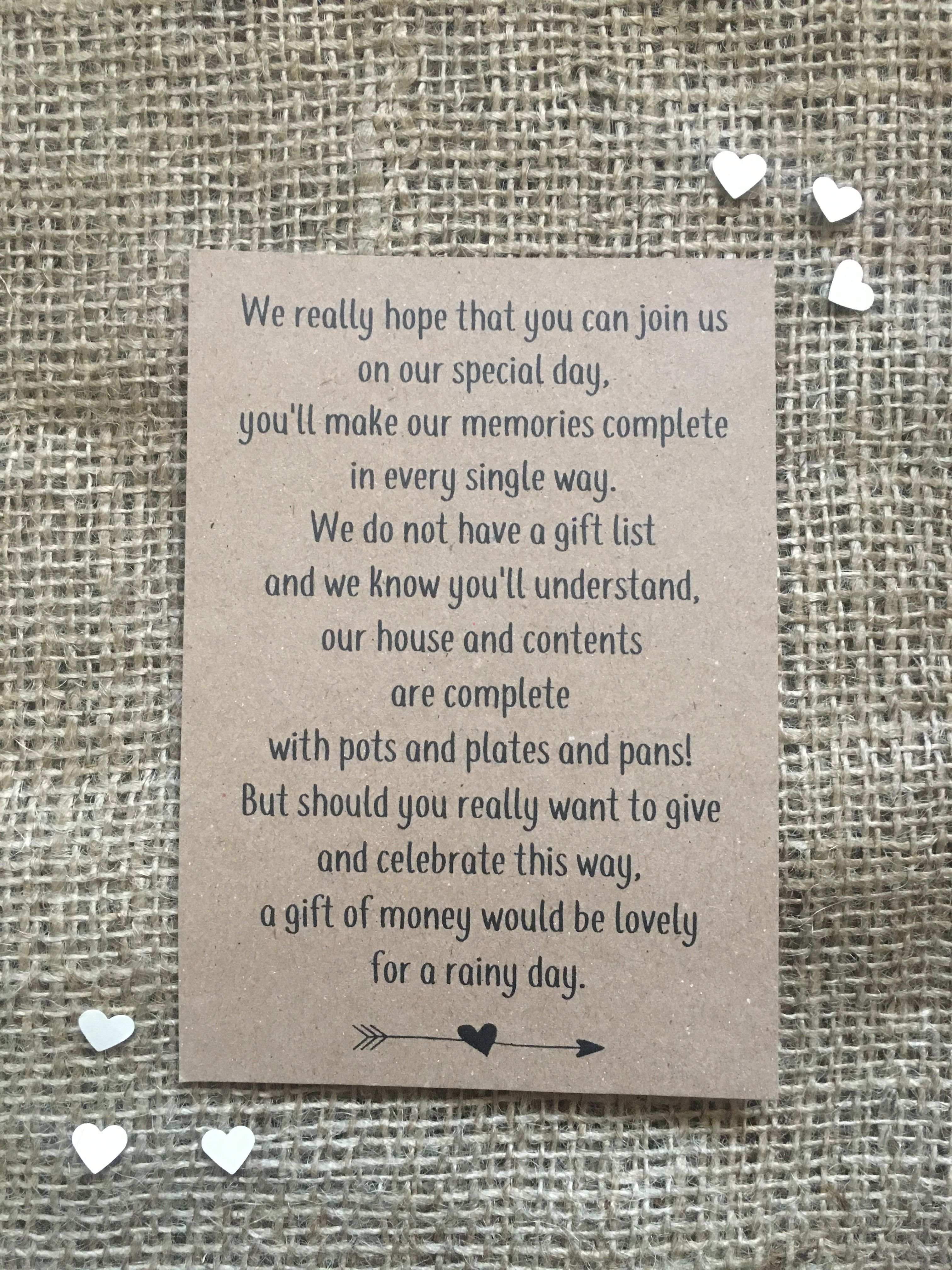 Fun Little Wedding Poem Politely Requesting Cash Gifts Ideal For