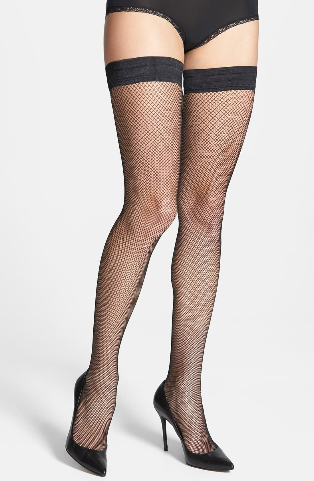 Plus Size Hosiery Black Fishnet Lace Top Stay Up Silicone Thigh High Stockings