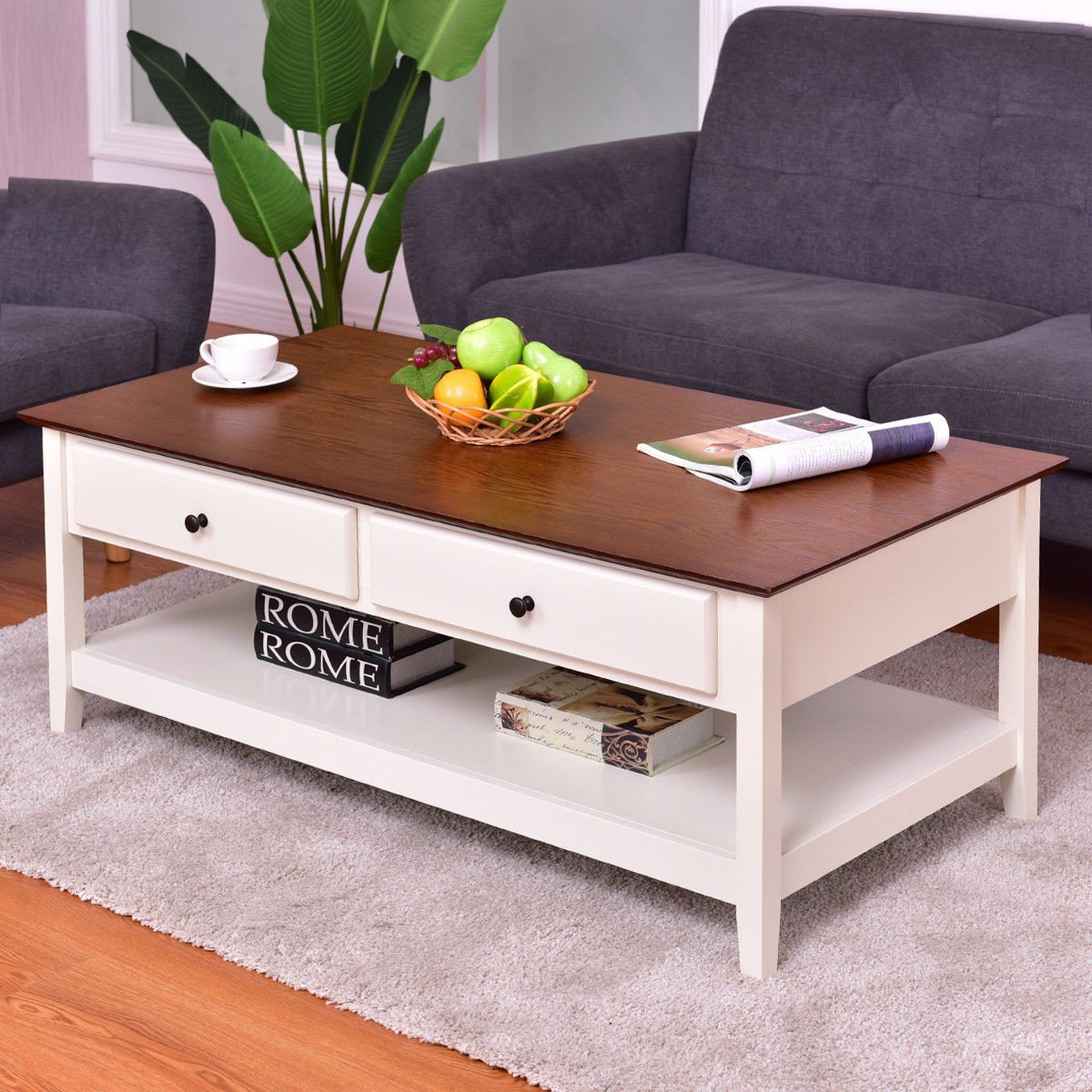 Loray Wood Accent Coffee Table Coffee Table Shelves Modern Living Room Coffee Table Rectangle [ 1200 x 1200 Pixel ]