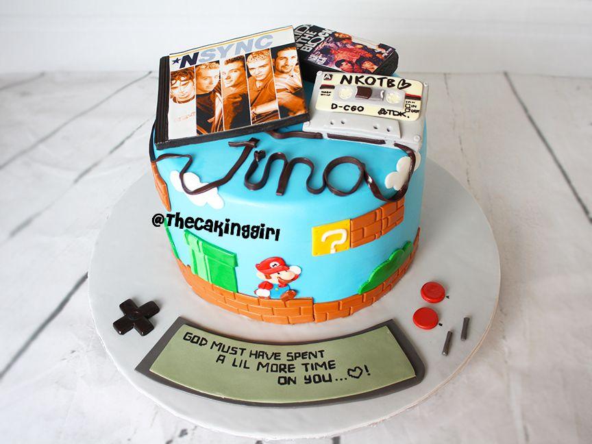 90s theme cake, retro fondant cake with cassette tape