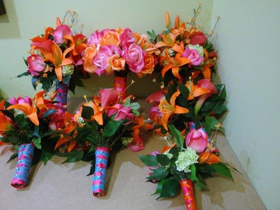 pink and orange groomsmen silk wedding flowers package flowers hot pink orange