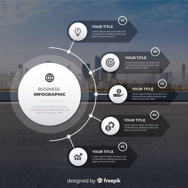 Lade Infographic Flaches Design Des Geschäfts Mit Foto kostenlos herunter