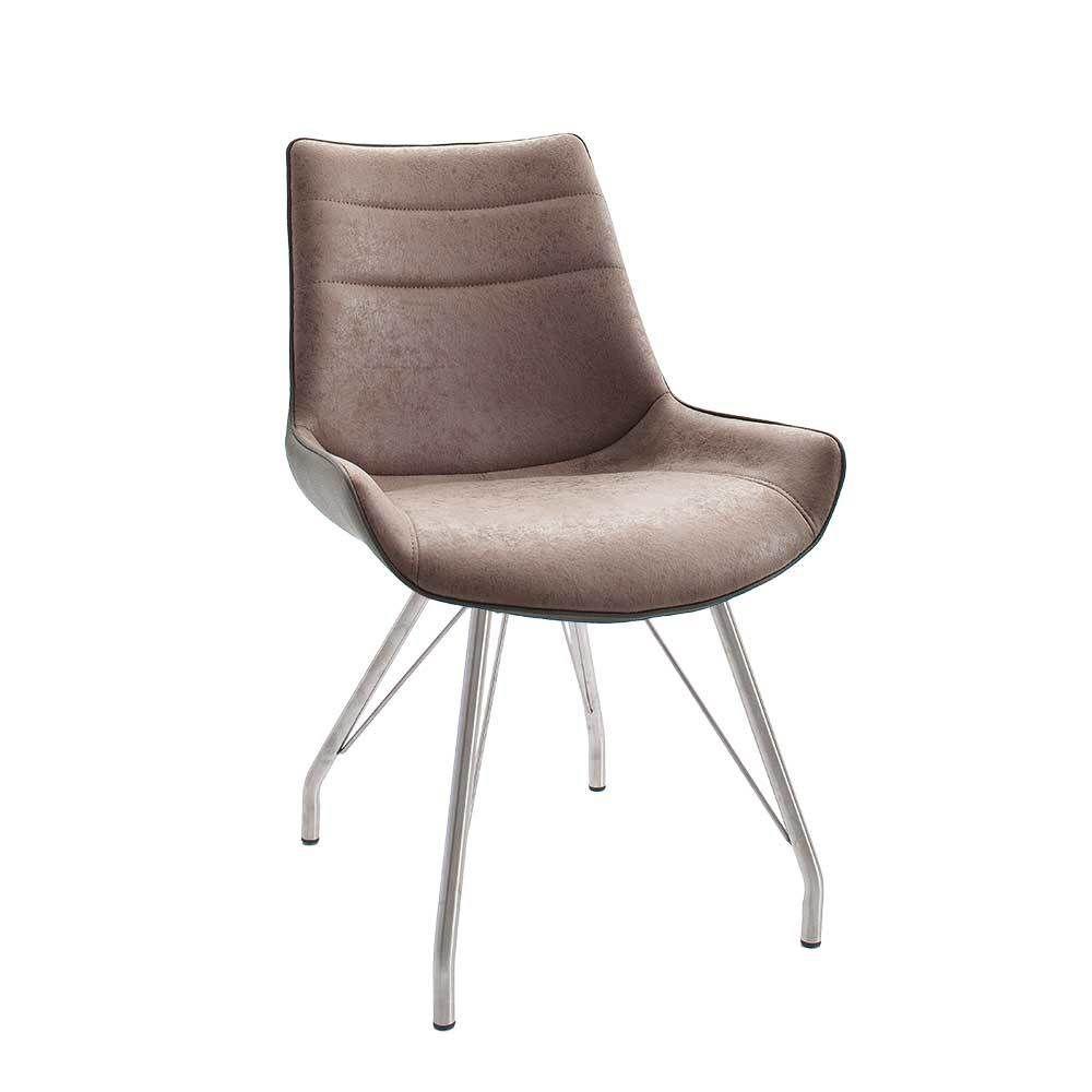 Stuhl Set in Braun antik weich gepolstert (2er Set) Jetzt bestellen ...