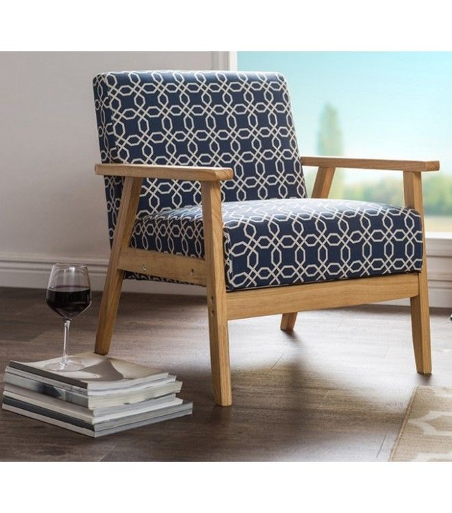 Retro Navy Blue Off White Geometric Pattern Armchair #pattern #chairs #for #living #room