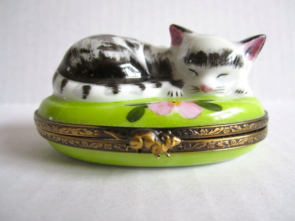 Limoges paris france vintage porcelain hand painted trinket box
