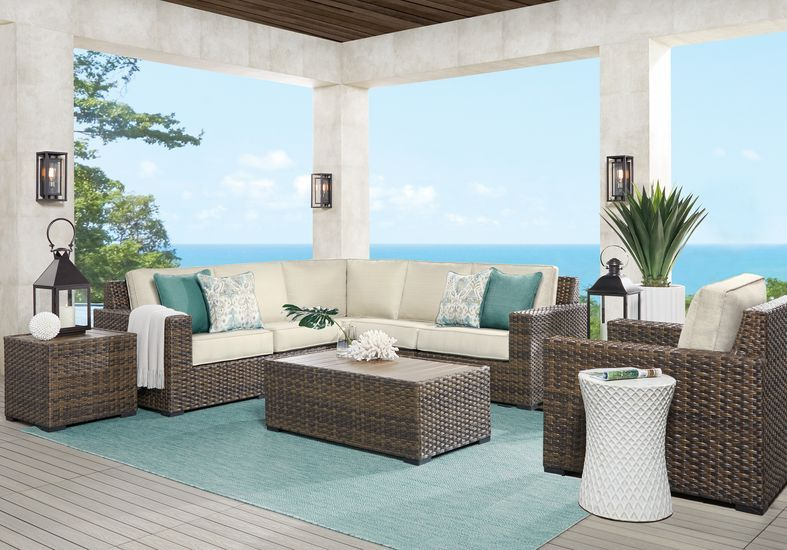 Rialto Brown 3 Pc Outdoor Sectional With Putty Cushions Rooms To