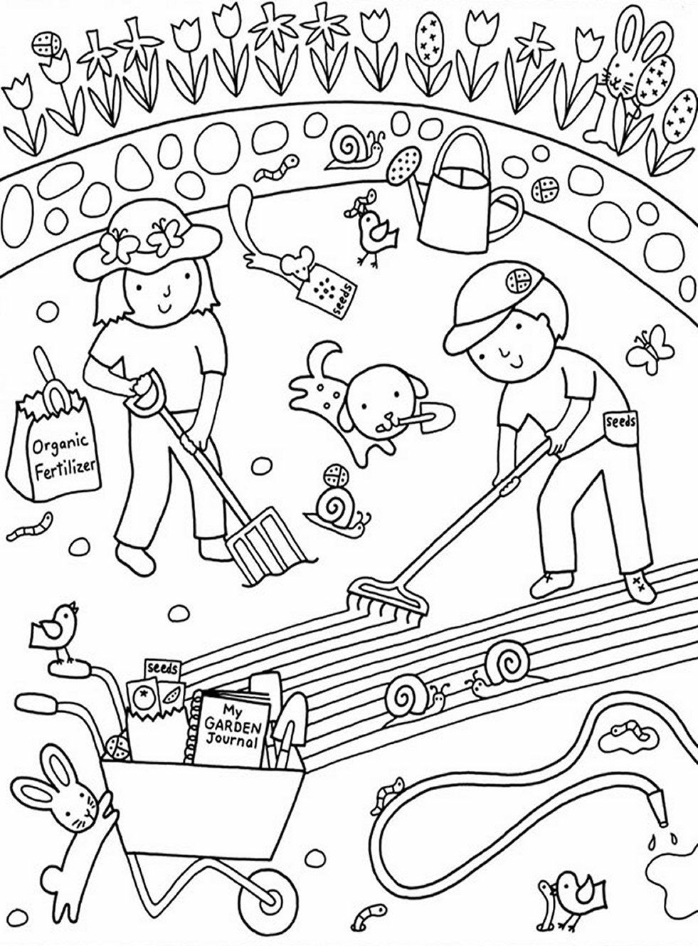 Kids gardening coloring pages free colouring pictures to for Flower garden coloring pages printable