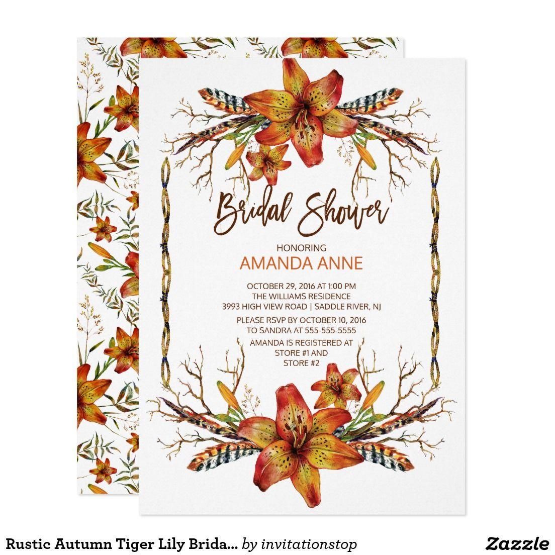 Rustic Autumn Tiger Lily Bridal Shower Invitation | Shower ...